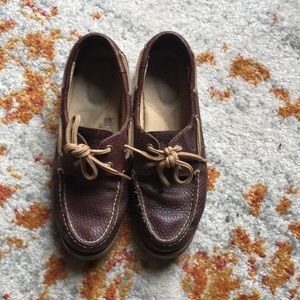 Dark brown leather Sperry's.
